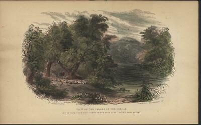 Valley of the Jordan Holy Land 1862 antique color engraved print