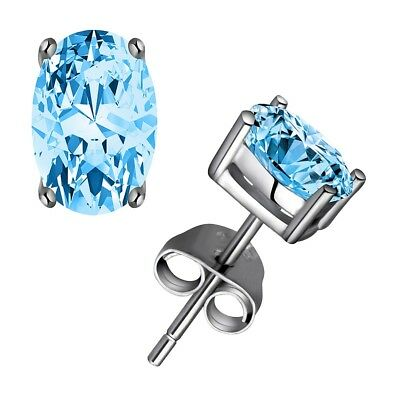 Oval Stud Earring Solid 925 Sterling Silver 1.2ct 4*6mm Sky Blue Topaz