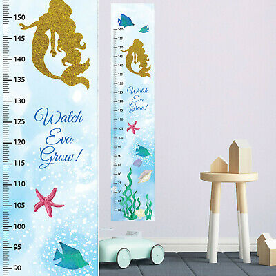 Personalised Mermaid Under the Sea Fabric Girls Height Growth Chart Name DOB