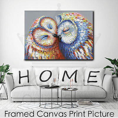 *Kissed Owl Couple* Stretched Canvas Print Picture Hang Wall Art Home Decor Gift