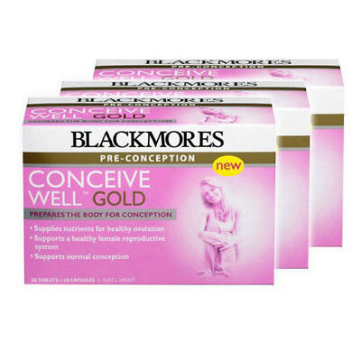 3PK Blackmores Pre-Conception Conceive Well Gold Dietary Supplement 56 Pill