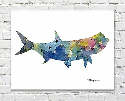 Blue Sail Fish Abstract Watercolor Painting Art Print by Artist DJ Rogers