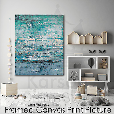 *Blue Abstract* Stretched Canvas Print Picture Hang Wall Art Home Decor Gift