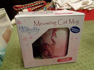 "RARE WhimsiClay Amy Lacombe MEOWING Cat Mug ""DESIRE""  NEW in Box HTF"