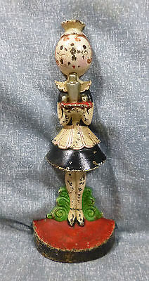 """Antique Rare Hubley No. 268 """"Parlor Maid"""" Cast Iron Doorstop by Fish"""
