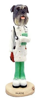 Gray Schnauzer with Uncropped Ears Nurse Collectible Resin Figurine Statue