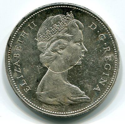 $1 Canada 1965 Struck Thru Obv - Looks Like Queen Has Her Necklace In Her Mouth!