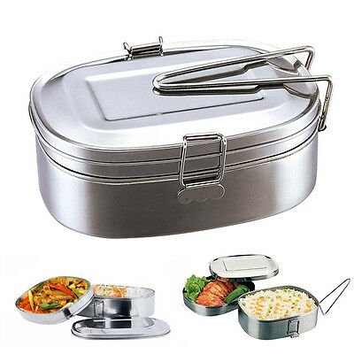 Double layer Portable Stainless Steel Lunch Box Picnic Food Storage Container