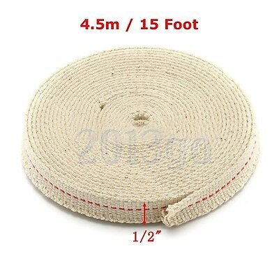 "1/2"" Flat Cotton Oil Lamp Wick 15foot Roll For Oil Lamps and Lanterns CG"