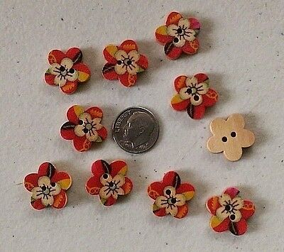 """Scrapbook Doll Lot of 10 ANIMAL THEME 2-hole Wood Buttons 11//16/"""" 1445 17mm"""