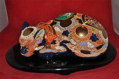 Vintage Japanese Sleeping Cat Gold Gilt Kutani Blue Ceramic BASE