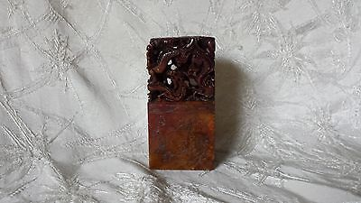 Antique Chinese Hand Carved Soapstone Dragon Chop Seal 3 7/8""