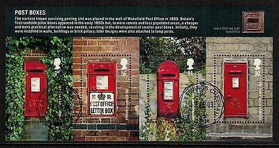 Great Britain 2009 Recent Used #2679 Post Boxes Souvenir Sheet VF (Sc $9.00 US)