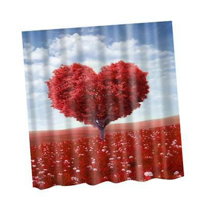 71'' Shower Curtain Bathroom Water Resistant Polyester Fabric Heart Tree