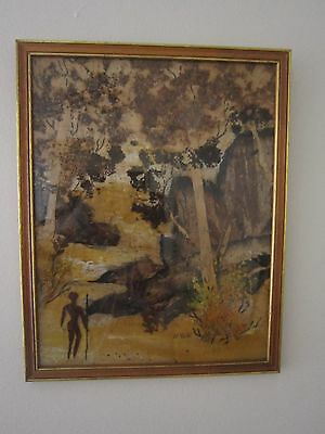 Vintage Bark Painting By Noted Late Australian Artist Nancy Volk