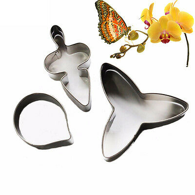 3pcs Chic Butterfly Orchid Petal Cake Pastry Cutter Fondant Cake Decorating Tool