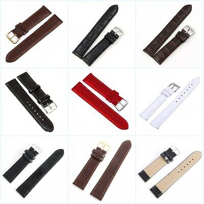 1Pcs 12/14/16/18/20/22mm Replacement Genuine Leather Wrist Watch Band Strap