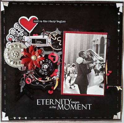 12 x 12 Handmade Scrapbook Page - And So The Story Begins