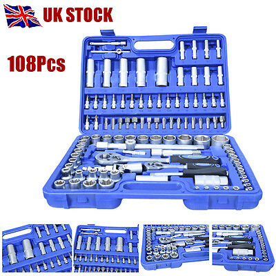 108Pcs Professional Socket Set Screwdriver Bit Torx Rachet Driver Case Tool Kit