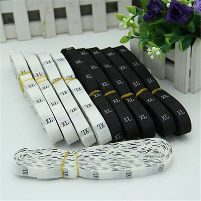 1 Rolls 500pcs Black/white Woven Clothing Garment Size Labels Tags Sewing ♫