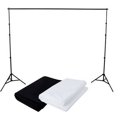 Photography Studio Black + White Muslin Cotton Backdrop Background Stand Kit