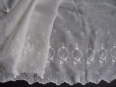 "Antique Embroidered Batiste Cotton Petticoat Trim Doll Making Clothes 58"" x 21"""