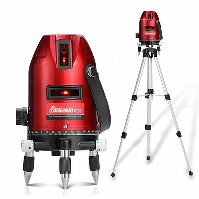 360° Laser Level Kit Self-Levelling 5 Line 6 Point Measuring Crossline + Tripod