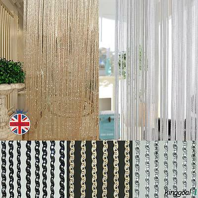 Fashion String Sparkle Curtains Patio Fly Screen Fringe Room Divider Door Window