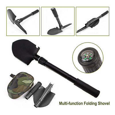 Military Folding Shovel Pick Bottle Opener Steel Spade for Camping with Compass
