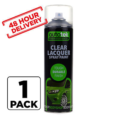 1 x AUTOTEK Clear Laquer Spray Acrylic Top Coat for Plastic Steel Metal 500ml