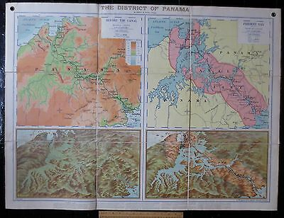 1920s REAL wall /school HUGE MAP Panama Canal before / after & Panoramic views!