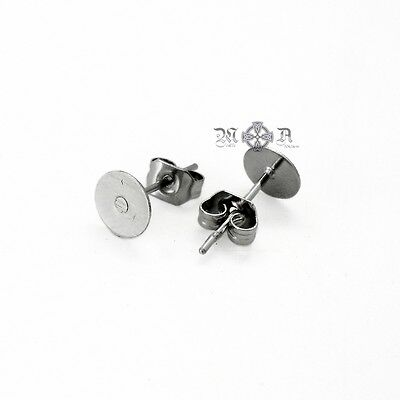 25 x Pairs (50pcs) Stainless Steel 6mm Pad Earring Studs w/ Backings