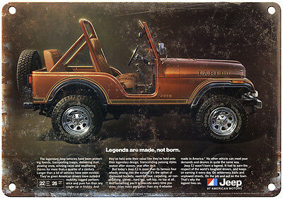 """Vintage Jeep Laredo ad 10"""" x 7"""" Reproduction Metal Sign"""