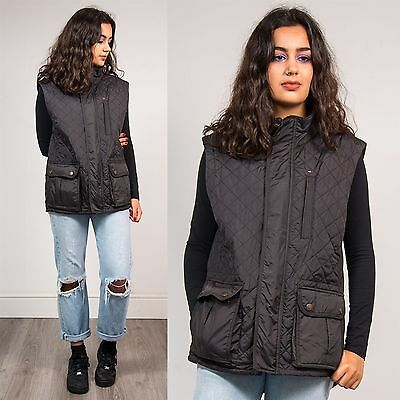 Tommy Hilfiger Retro Quilted Black Gilet Bodywarmer Jacket Preppy Outdoors 14