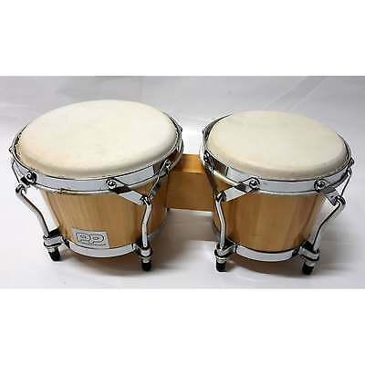 Percussion Plus 6 and 7 Inch Wooden Bongos Natural | Clearance