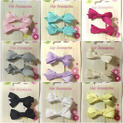2 Mini Pair Hair Clip Grosgrain Ribbon Bow Baby Girl Toddler Slides Pin Gift New