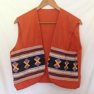 Miccosukee Seminole Native American Patchwork Vest  Rick Rack Orange Purple 42
