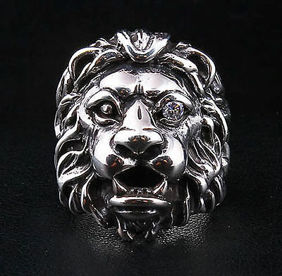 Diamond Eye Lion Head Heavy 925 Sterling Silver Ring Men Biker Leo Motorcycle