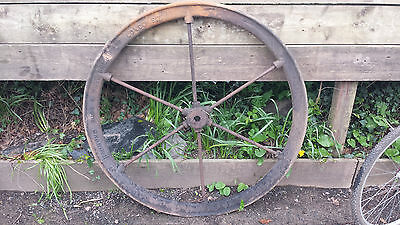 large antique wrought cast iron pulley wheel garden feature