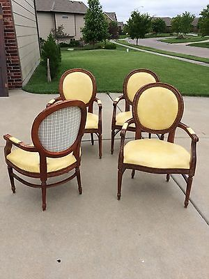 French Louis XVI Style Chairs Set of 4 Arm Chairs