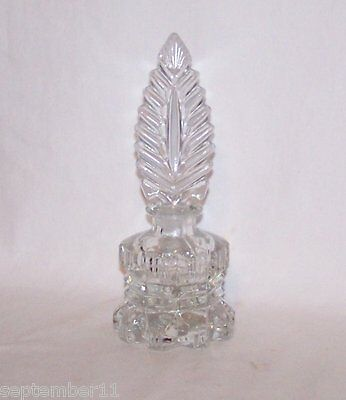 Antique Art Deco Pressed / Cut Crystal Perfume Bottle Ground  Feather Stopper