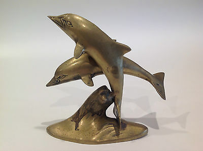 Vintage Solid Brass Dancing Dolphins