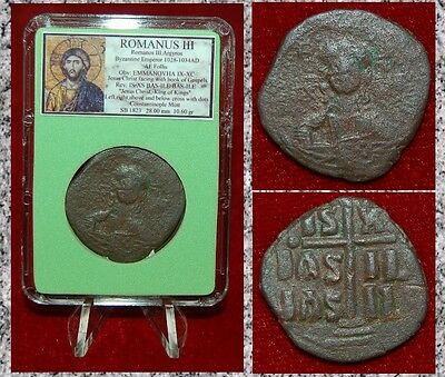 Ancient Byzantine Empire Coin ROMANUS III JESUS CHRIST Holding Book of Gospel