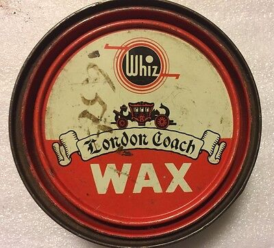 Vintage Can Whiz London Coach Wax For Automobiles And Furniture Advertising Tin