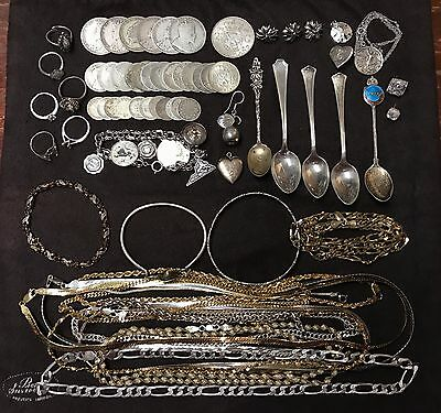 644.0 Grams Sterling Silver Jewelry Necklaces,  Bracelets, rings 414.1 dwt
