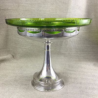 Antique Silver Plate German WMF Art Deco centerpiece Bowl Green Glass
