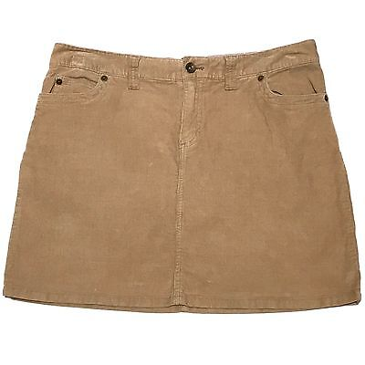 Vineyard Vines Corduroy Skirt Size 10 Khaki Tan Blue Chambray Inside Waistband