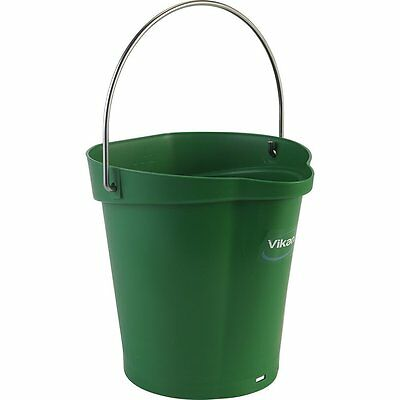 Vikan 56882 Plastic Round Heavy Duty Pail with Stainless Steel Hanger, 1.50 gal,