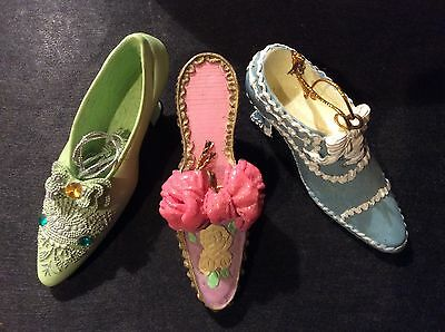 3 Mini Victorian Shoe Ornaments Ornate High Heels, Resin with Hanger Set of 3