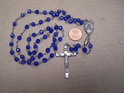 Beautiful Rosary with Blue Multi-Faceted Plastic Beads - Mexico